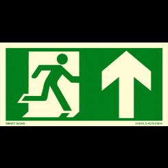 Skilt - Nødutgang - Pil opp - Løpende mann