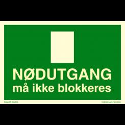 Skilt - Nødutgang - Må ikke blokkeres